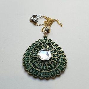 GASOLINE GLAMOUR Jewelry - GYPSY MEDALLION patina drop MOONDUST necklace new